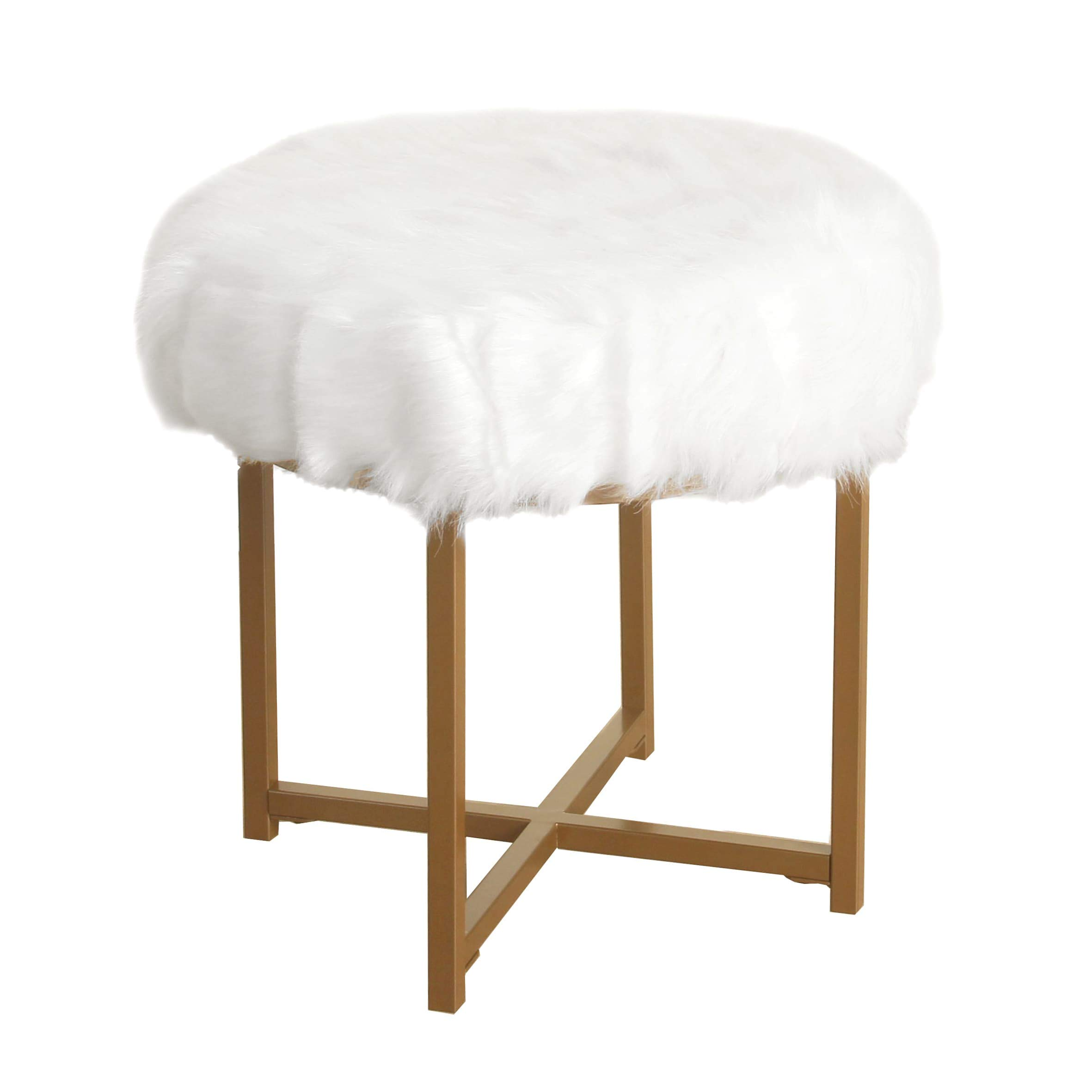 Hartau White Faux Fur Round Stool with Goldtone Metal Base Solid Glam by Unknown