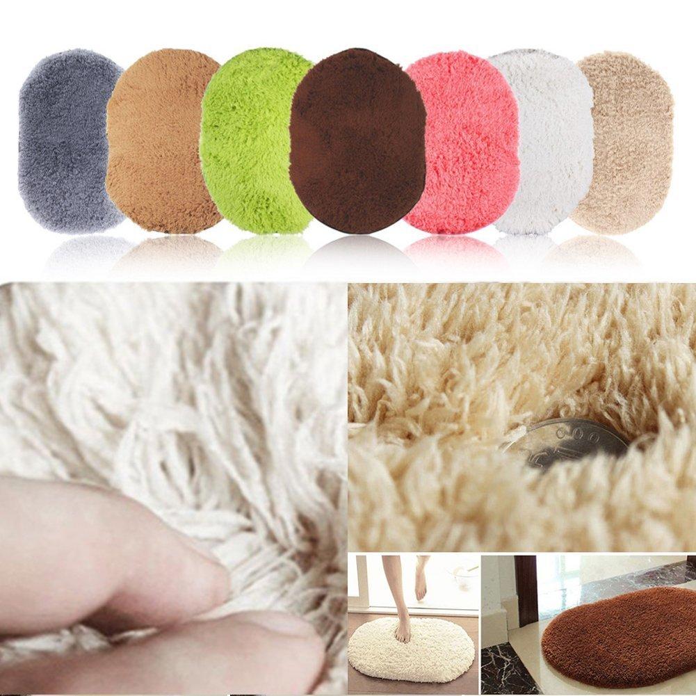 Woopower 40x60CM Bedroom Floor Rugs Mat Cute Oval Velvet Mat Thicken Blanket for Living Room Bedroom