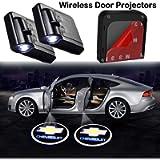 2Pcs Car Door Lights Logo Projector fit Chevrolet Chevy,Wireless Car Door Paste Projector Logo Lights Led Logo Projector…