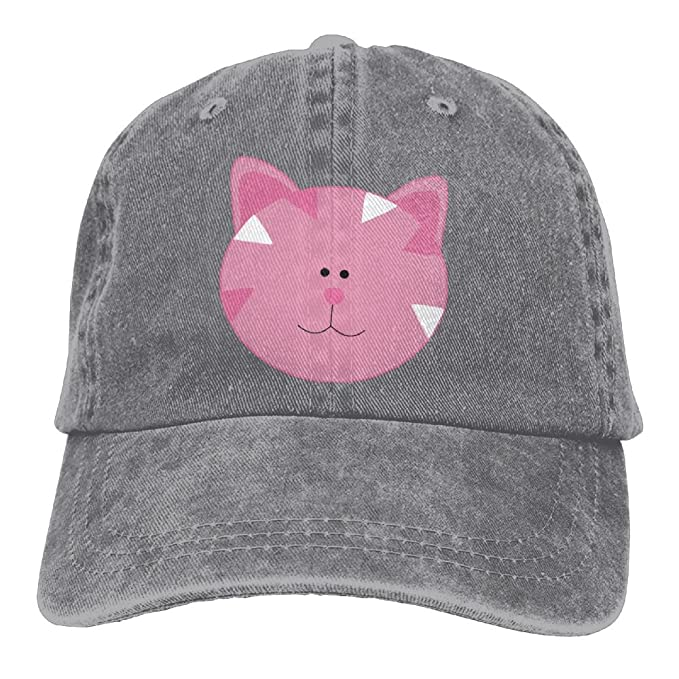 Image Unavailable. Image not available for. Color  NavyLife Unisex Pink Cat  Face Cartoon Cute Washed Cotton Denim Baseball Cap Vintage Adjustable Dad  Hat 3de4d532fdf6