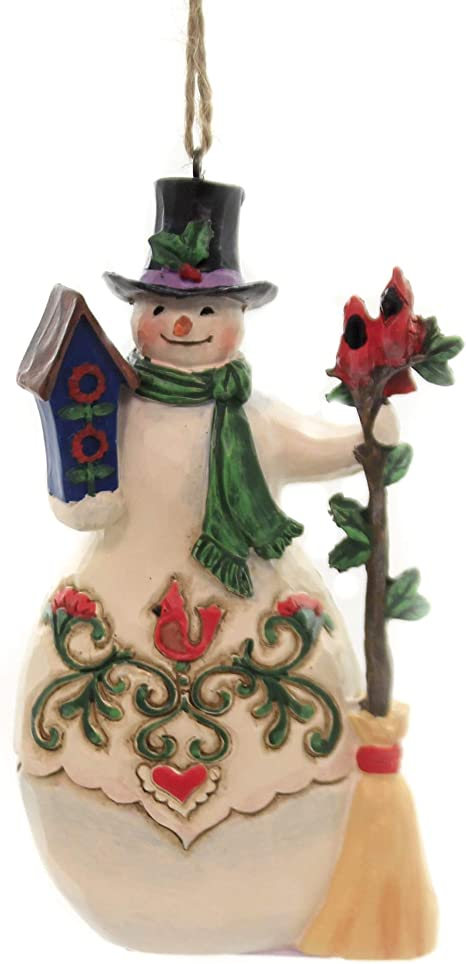 Amazon Com Enesco Jim Shore Hanging Ornament Snowman With Cardina Home Kitchen