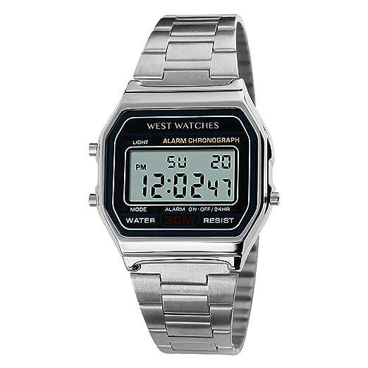 West Watch - Original - Reloj Digital - Modelo Cliff - Plata - Fondo en LED - Función de Alarma - Función de cronómetro: Amazon.es: Relojes