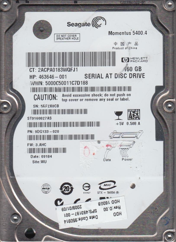 ST9160827AS WU FW 3.AHC Seagate 160GB SATA 2.5 Hard Drive PN 9DG133-020 5RF