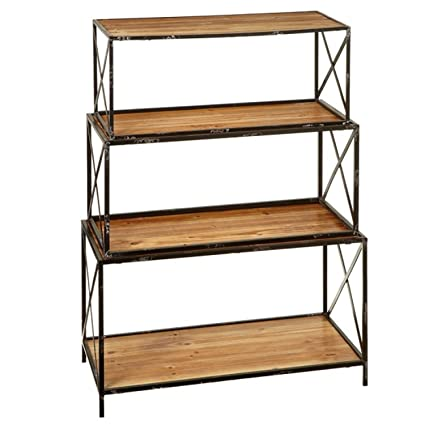 Midwest Gloves 3 Piece Black And Brown Metal Weathered Nested Bookshelf 3025