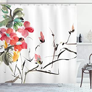 """Ambesonne Japanese Shower Curtain, Popular Early Period Watercolors Print with Vivid Floral Motifs Art Picture, Cloth Fabric Bathroom Decor Set with Hooks, 75"""" Long, Coral Green"""