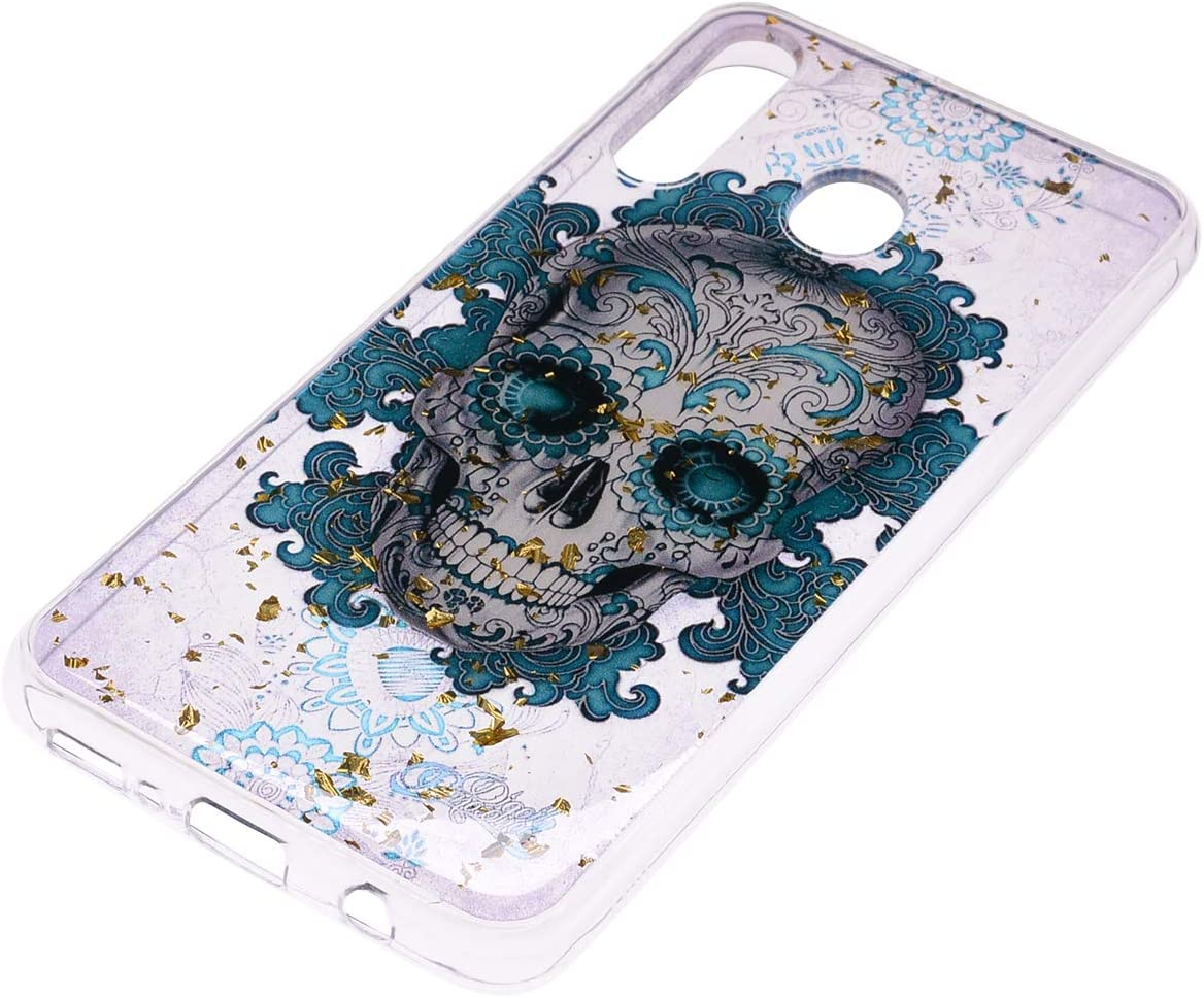 Amocase Gold Foil Glitter Case with 2 in 1 Stylus for Samsung Galaxy A40,Cartoon Print Design Soft Rubber Silicone Shockproof Anti-Scratch Flexible TPU Clear Case Black Lace
