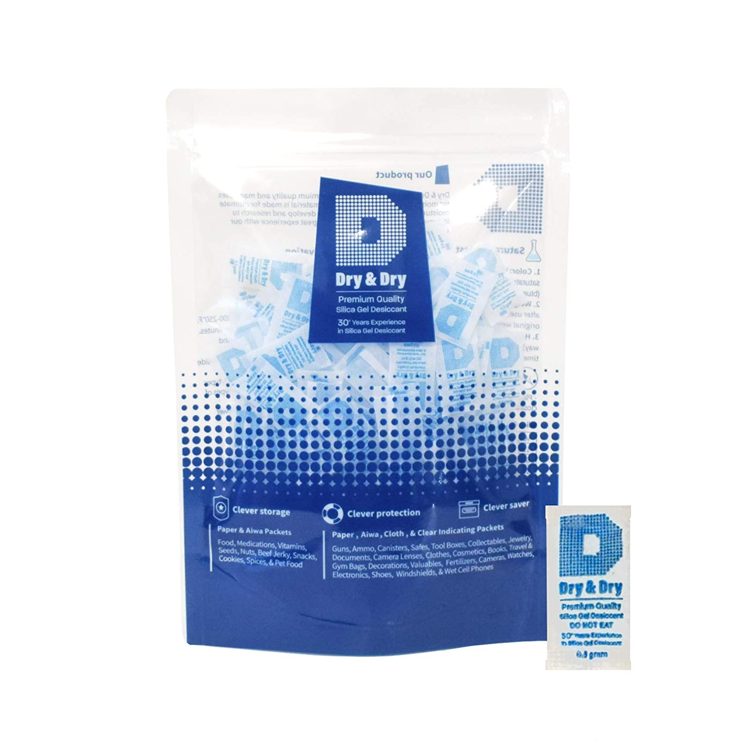 Dry & Dry 0.5(Half) Gram [250 Packets] Premium Silica Gel Pure & Safe Silica Gel Packets Desiccant - Food Safe Silica Packets for Moisture Absorber Silica Gel Packs