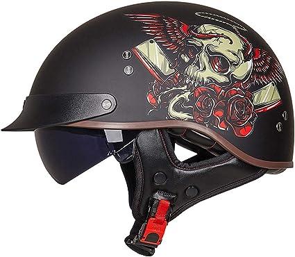 VCOROS Retro Motorrad Halbhelme Unisex-Adult Scooter Helm Open Face Cruiser Motorradhelm mit Innerer Sonnenblende Route 66,XXL