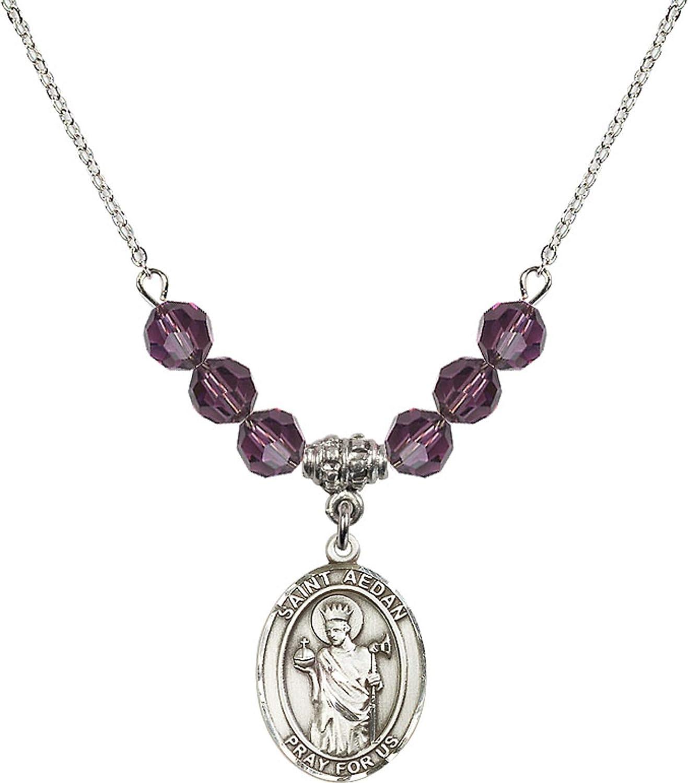 Bonyak Jewelry 18 Inch Rhodium Plated Necklace w// 6mm Purple February Birth Month Stone Beads and Saint Aedan of Ferns Charm