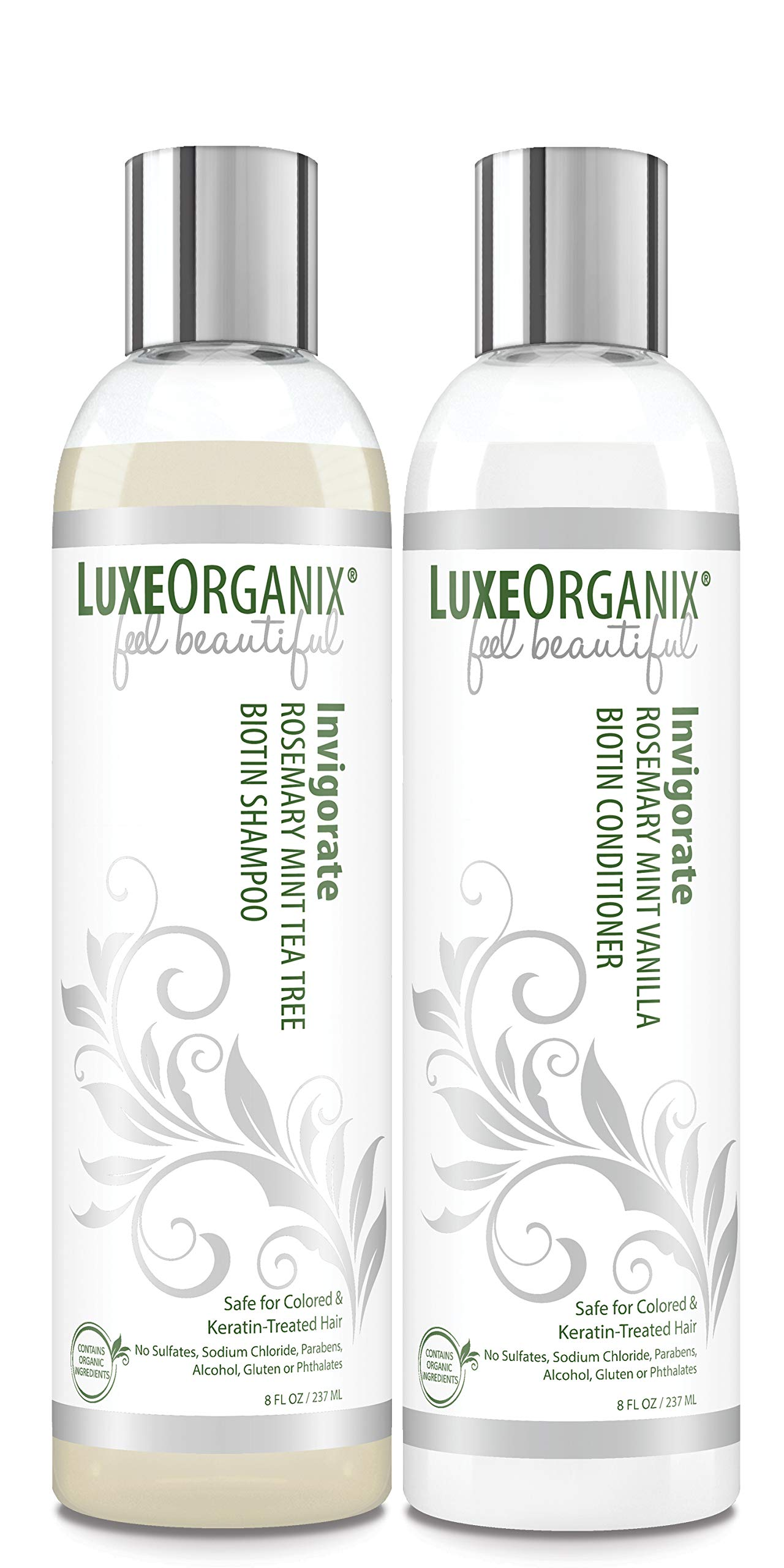 Biotin Organic Shampoo and Conditioner: Safe for Color Treated and Keratin Hair Treatments. Natural Mint, Tea Tree and Rosemary Oils for Healthier Growing Hair and Scalp. For All Hair Types. (USA) by LuxeOrganix