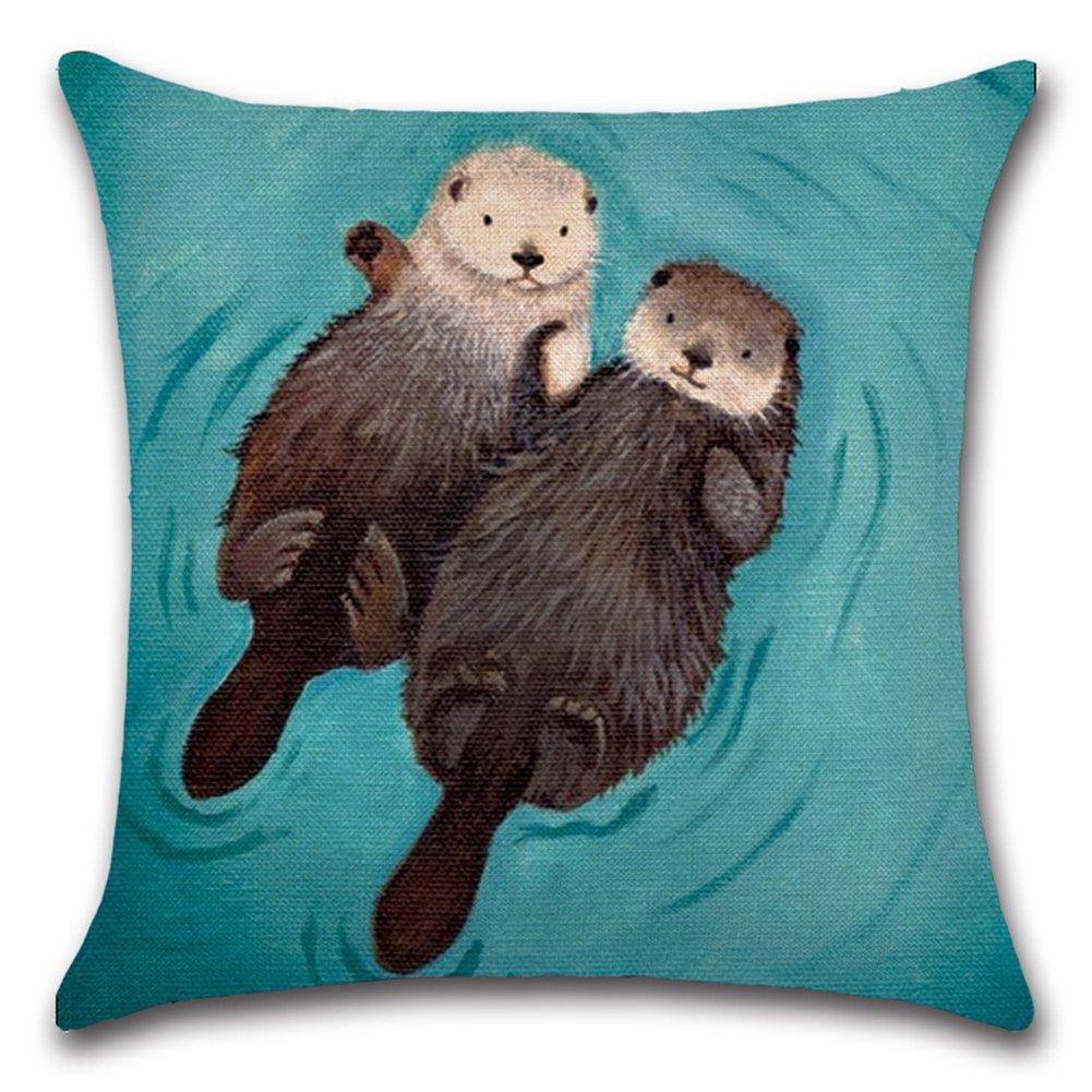 kacopol Lovely動物抽象愛らしい枕カバースーパーソフトショート豪華ホーム装飾保育園枕クッションカバー用のソファ正方形18 x 18インチ 18