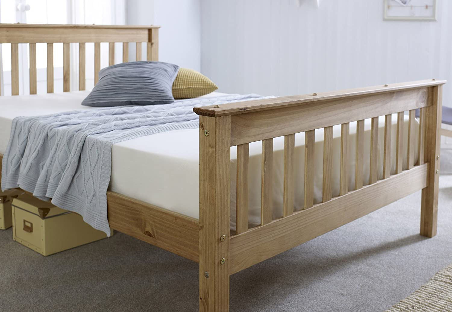 NEW 3ft Single Solid Pine Somerset Bed Waxed Mattress Option
