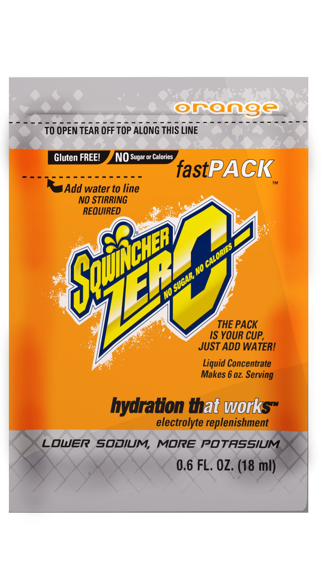 Sqwincher Zero Fast Pack Sugar Free Liquid Concentrate Electrolyte Replacement Beverage Mix, Orange 015500-OR (4 Boxes of 50)