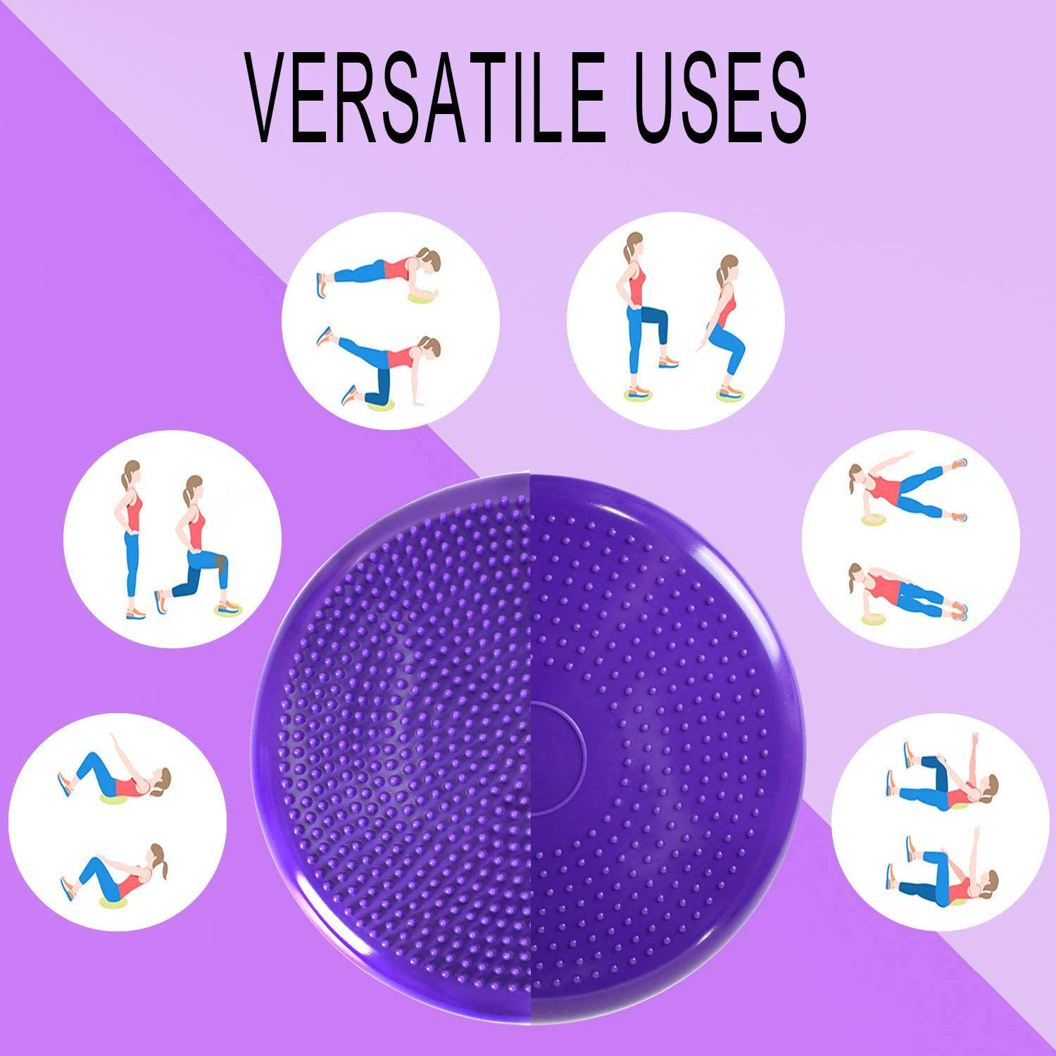 Wiggle Seat for Sensory Kids Purple Nvzi Wobble Cushion with Spiky Massage Ball Classroom Furniture Balance Disc for Strengthen Core Stability Office Flexible Alternative Seating for School