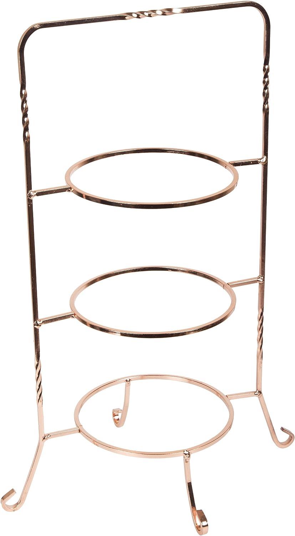 "Creative Home Copper Renaissance 3 Tier Dessert Plate Rack, 18.5"" H"