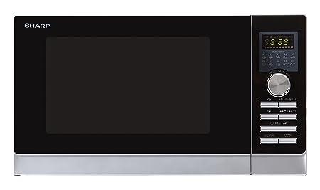 Sharp R-842INW Microondas Combi 25L, 3 en 1, 900W, Convección 2300W, Sup 1200W, Grill Inf 500W, 900 W, 25 litros, Acero inoxidable