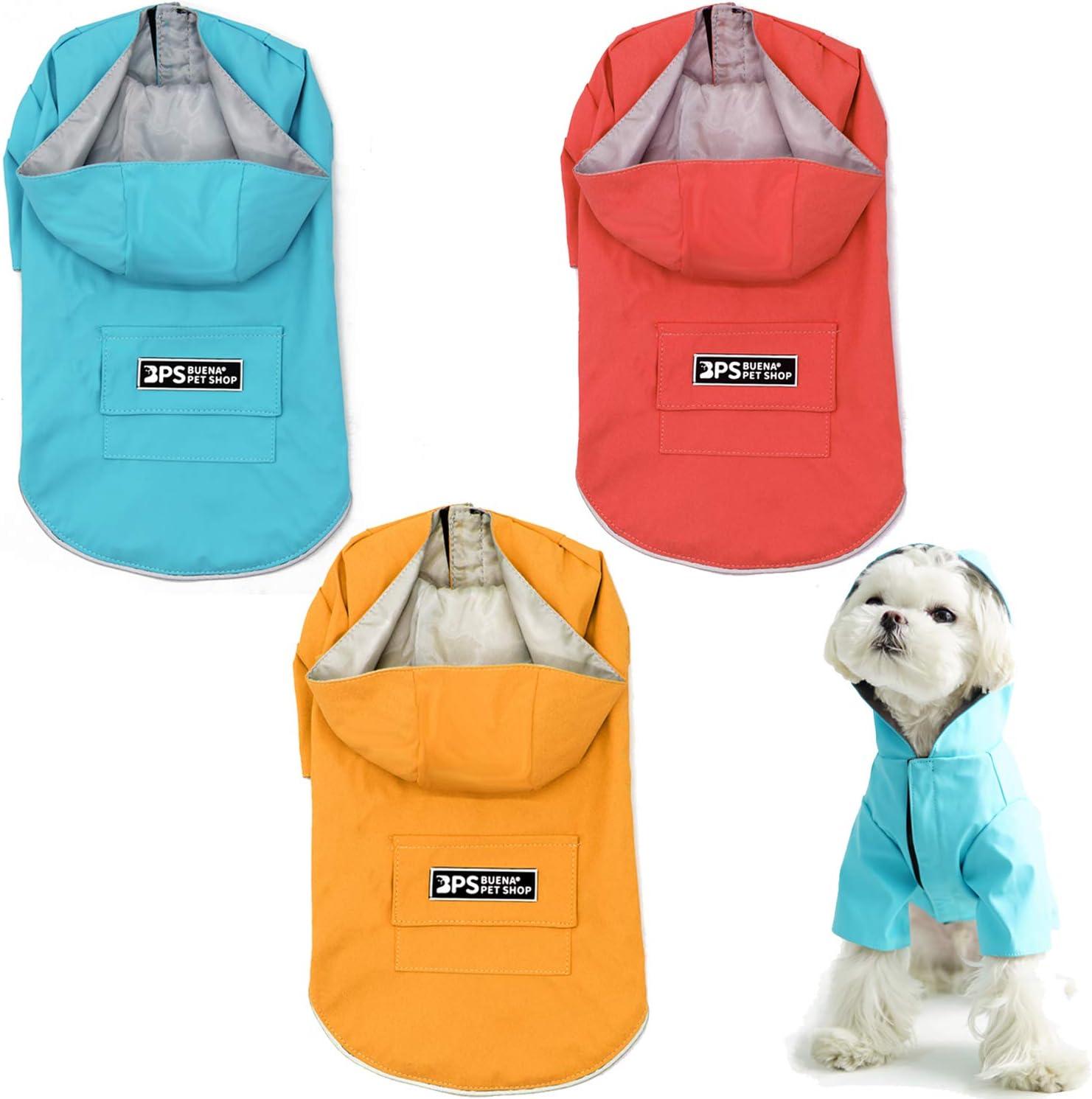 BPS Chubasqueros Impermeables para Mascotas Perros Impermeables con Capucha Bolsillo para Perro Pequeño Mediano y Grande con Material 100% Poliéster (XXL, Amarillo) BPS-9704AM