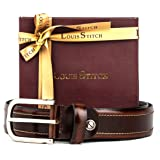 LOUIS STITCH Casual Dual tone Leather Belt for Men | Brown and Chrome Buckle (Italy_HKCH) | Luxury Collection
