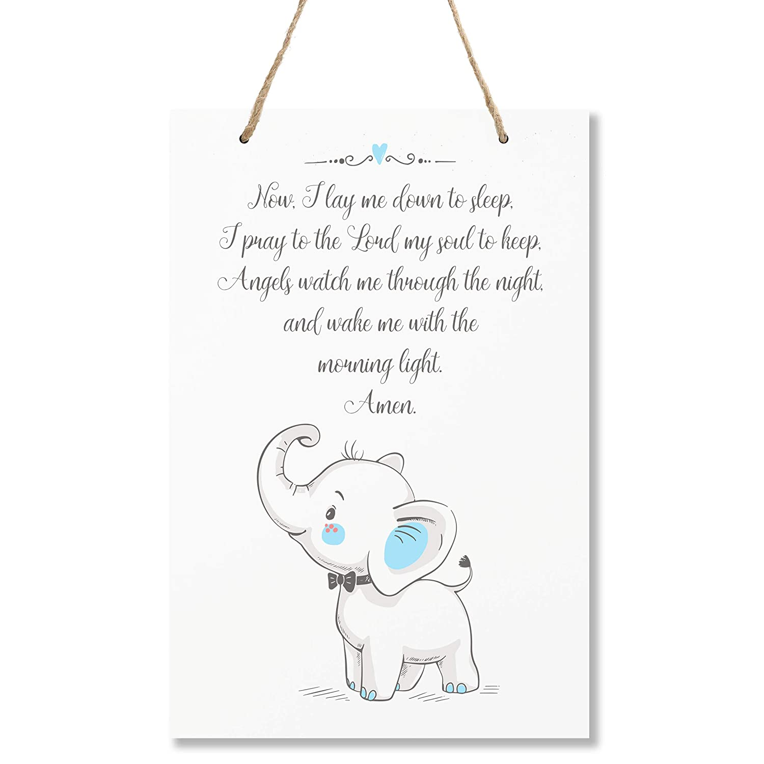 "LifeSong Milestones Elephant Wall Decor Decorations signs for Kids, Bedroom, Nursery, Hallways, Baby's Boys and Girls room, Toddlers size 8"" x 12"" Proudly Made in USA (Now I lay me down to sleep blue)"
