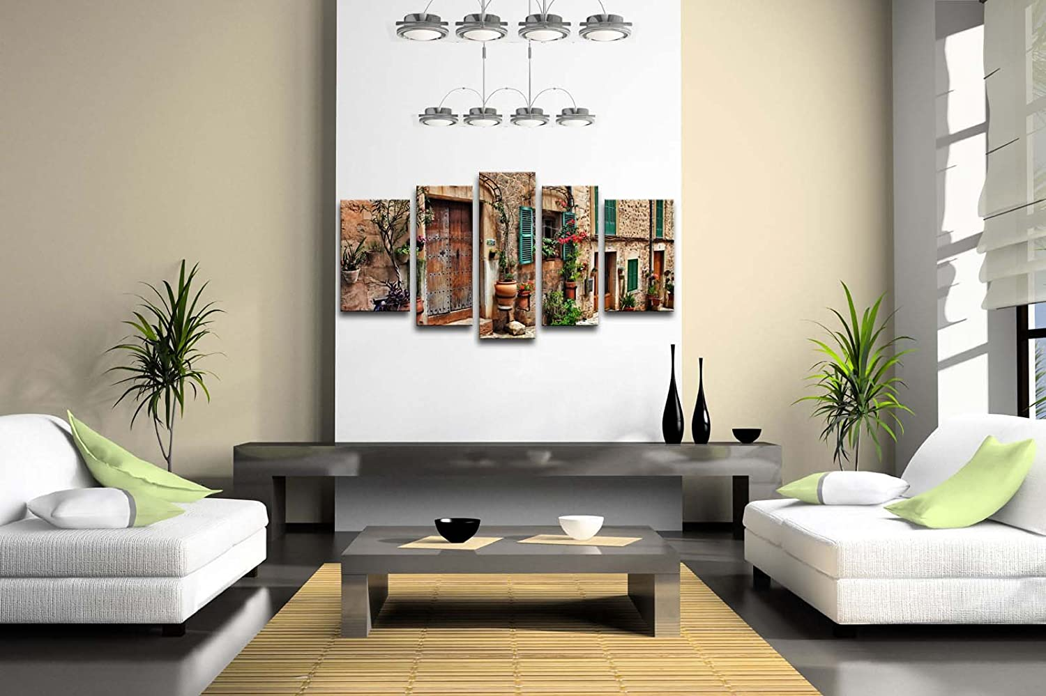 Amazon.com: 5 Panel Wall Art Streets Of Old Mediterranean Towns ...