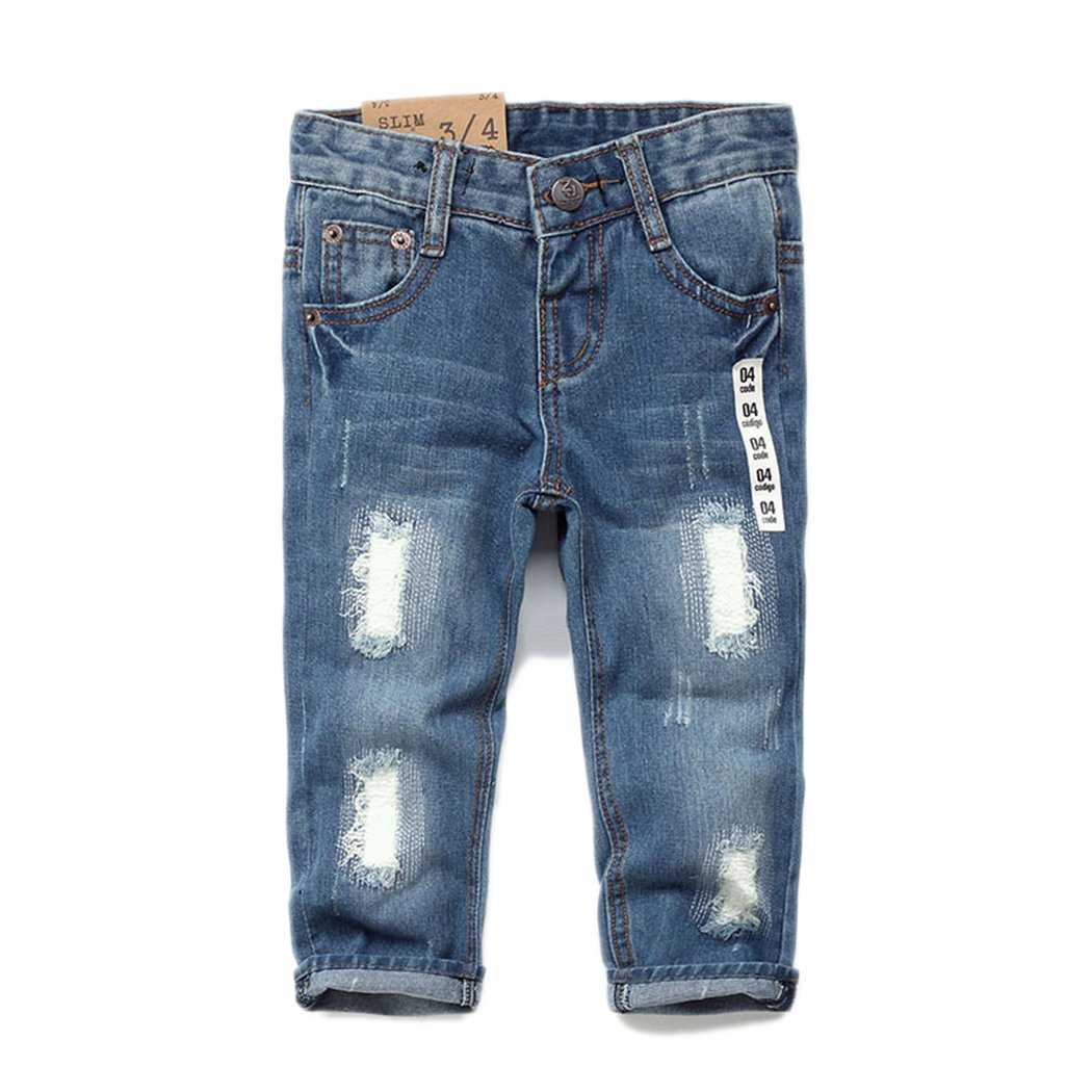 Kidscool Girls Ripped Holes Patched Stretchy Denim Slim Soft Jeans