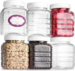 Pack of 6 - Clear Empty Plastic Storage Containers with Lids - Square Pantry Containers - 16 Oz Clear Jars with Air Tight Lids and Labels – BPA Free Plastic Jar - Paint Storage Containers