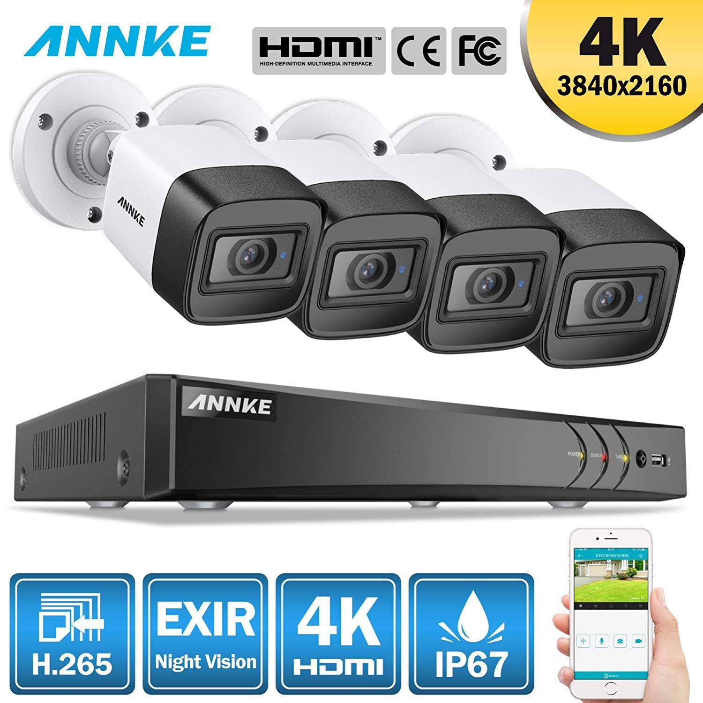 8CH DVR 5MP HD IP67 CCTV Camera Security System APP Alert ANNKE 4K Video H.265