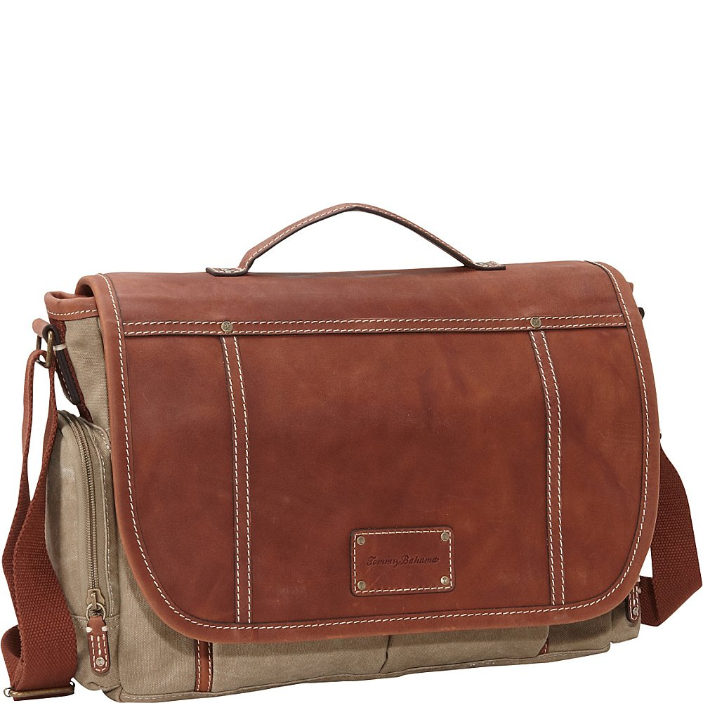Tommy Bahama Luggage Casual Messenger Bag, Khaki/Cognac, One Size