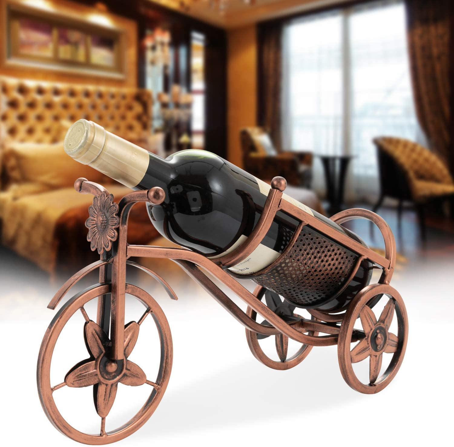 SOPRETY Creative Wine Rack Wine Holder for Single Bottle Bike Shaped with Flower, Wine Organizer Stand Countertop Tabletop Display for Home and Office, Thickening Stainless Steel, Retro Copper