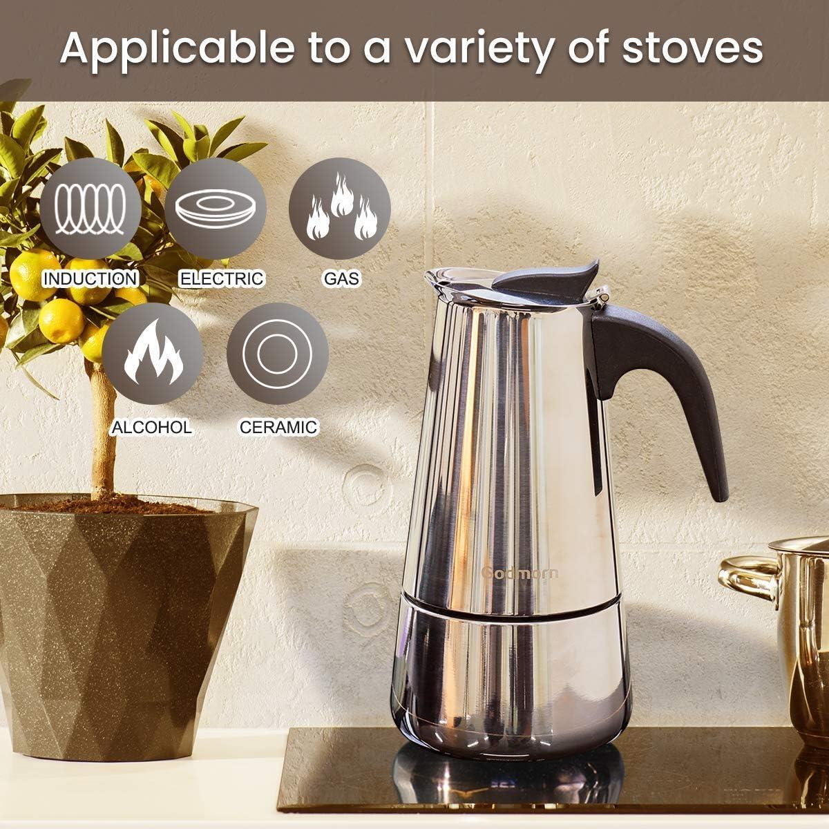 Godmorn Cafetera Italiana, Cafetera espressos en Acero inoxidable430, 10tazas(450ml),Conveniente para la Cocina de inducción,Cafetera Moka Clásica,