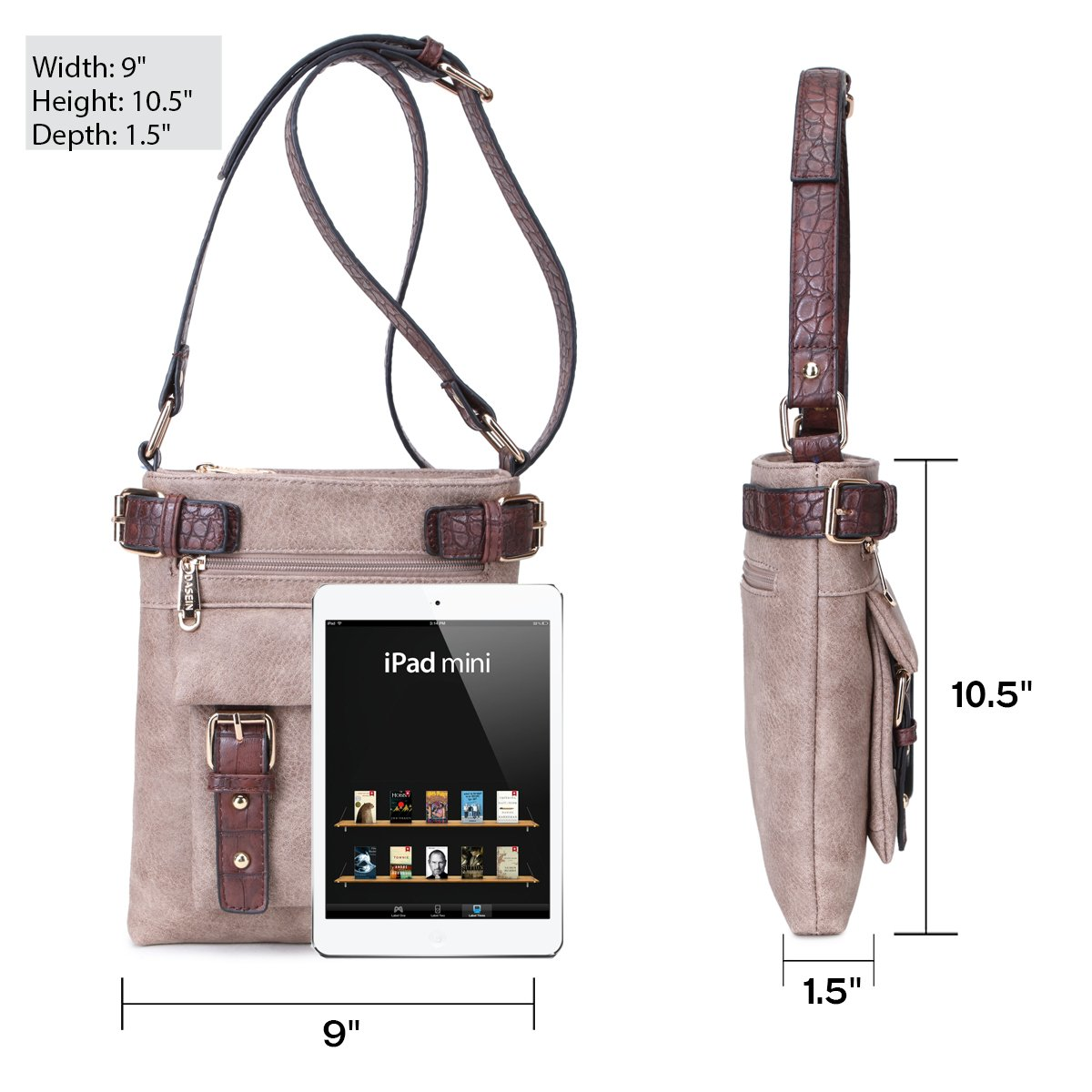 MMK Collection Fashion Crossbody Bag~Messenger Purse for Women~Designer Fashion handbag (MA-09-6333-1-BK) by Marco M. Kerry (Image #3)