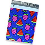 25 Pack of Mighty Gadget (R) Watermelon & Strawberry Designer Poly Mailers - 10x13 inch Shipping Envelopes with 2.35 mil Thickness