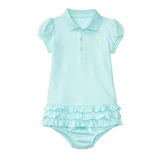 Ralph Lauren Baby Girls Ruffled Polo Dress \u0026 Bloomer Set (3 Months, Island  Aqua