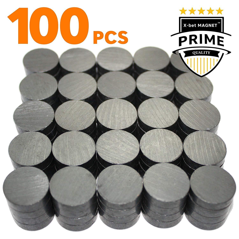 Lot 100 pcs aimants céramique - Petit disque magnet rond 18 mm (0,709 pouce) - Ring magnet plat pour bricolage, DIY, science, loisirs – Parfait slim aimants pour réfrigérateur, tableau blanc, frigo