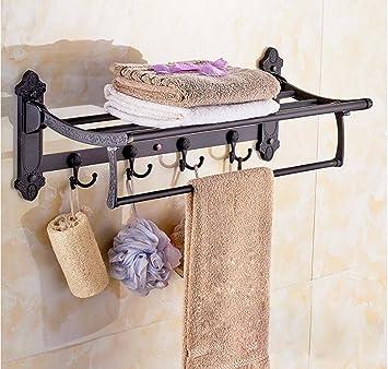 YFF@ILU El baño Toallas, Doblar la escuadra Negra, baño toallero 60 * 23.5 * 13.5cm Plegar: Amazon.es: Hogar