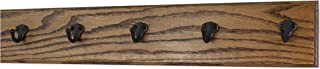 """product image for PegandRail Oak Wall Mounted Coat Rack with Aged Bronze Singular Style Hooks 4.5"""" Ultra Wide (Walnut, 25.5"""" x 4.5"""" with 5 Hooks)"""