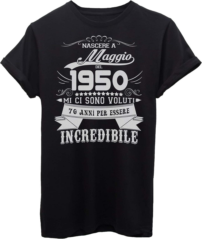Donna 70 Anni Compleanno Ragazzo Uomo Donna Regalo Anno 1950 Maglietta con Collo a V