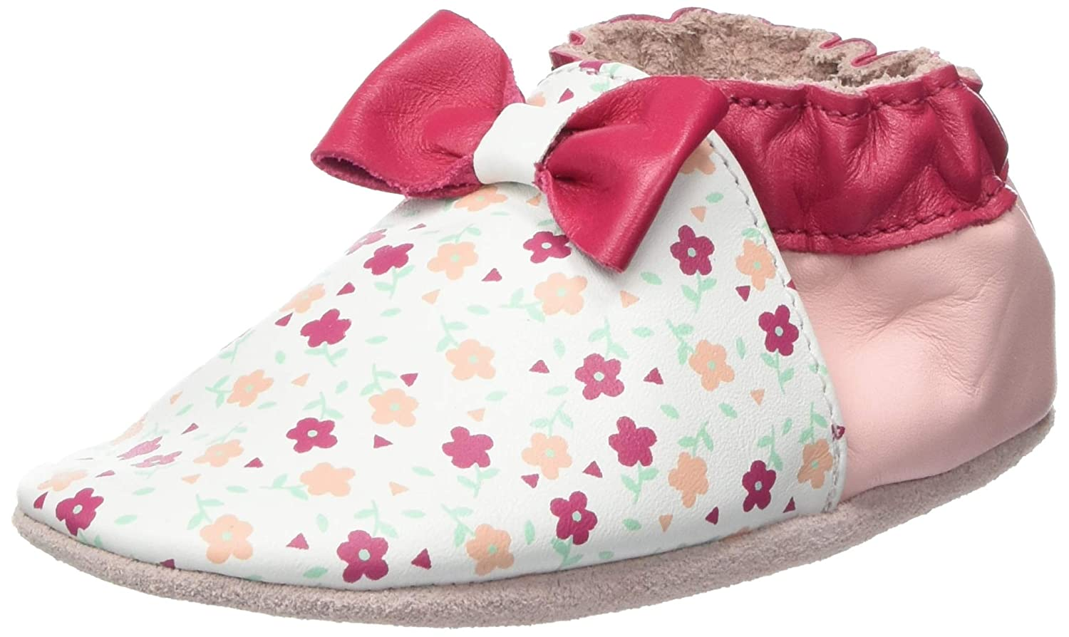 Robeez Flowery Printed White Leather Baby Soft Soles Shoes