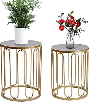 Homebeez End Tables Set of 2 Gold Nesting Side Coffee Table Decorative Round Nightstands Stainless Steel Top