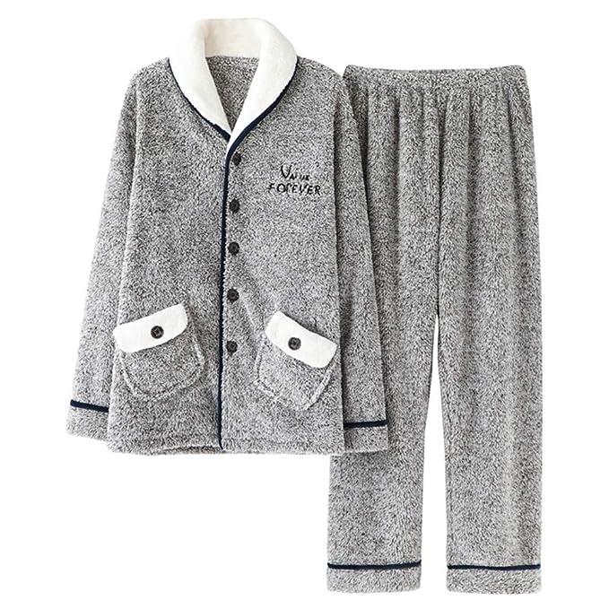 Pijamas de Pareja Vellón de Coral Espesar Más Terciopelo Invierno ...