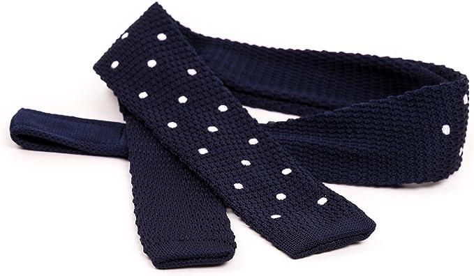 Elegante corbata de lana tricotada en azul, rojo y gris - BE ...