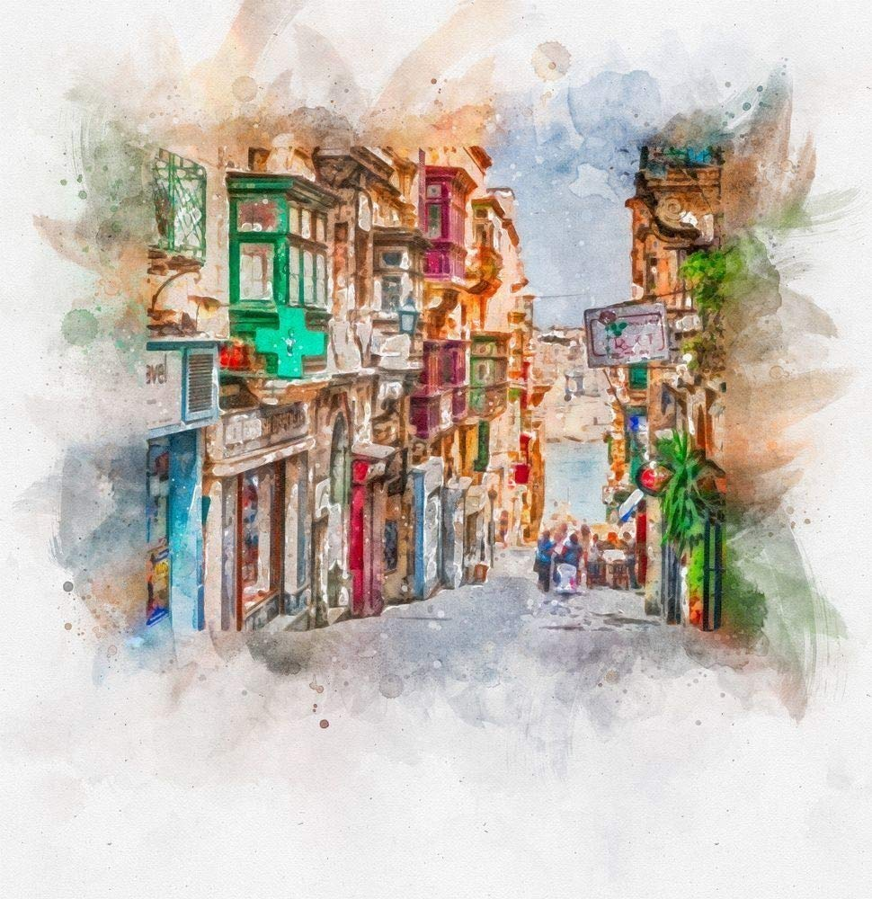 Typical Buildings and balconies in Valletta Malta Watercolour Painting Print