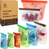Reusable Silicone Food Storage Bags,WOHOME Freezer Airtight Seal Food Preservation Bags,Food Grade,Versatile…