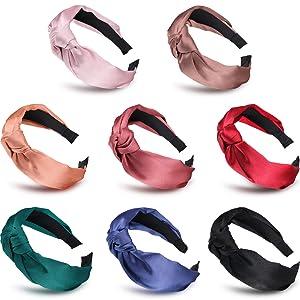 Silk Headbands Satin Knot Headband for Women Girls, 8 Pcs Topknot Headband Solid Color Cross Wide Hairbands Elastic Hair Accessories