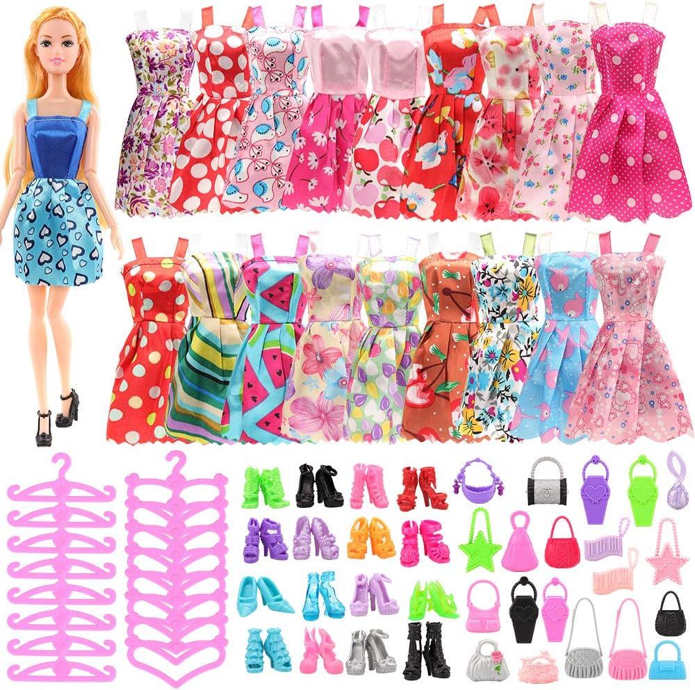 20 perchas Miunana 105 ropa zapatos ropa ropa accesorios para mu/ñecas Barbie = 20 vestidos 50 zapatos 15 bolsos de mano para mu/ñecas de ni/ña de 11,5 pulgadas