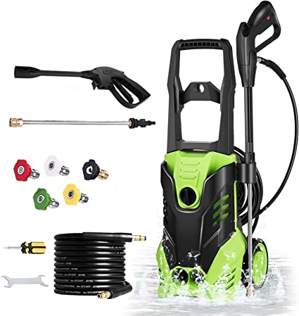 Amazon Com Electric High Pressure Washer With 3000 Psi 1 7gpm 1800w Power Washer With Spray Gun 5 High And Low Pressure Nozzles Most Suitable For Cleaning Houses Cars Driveways Courtyards Green Garden