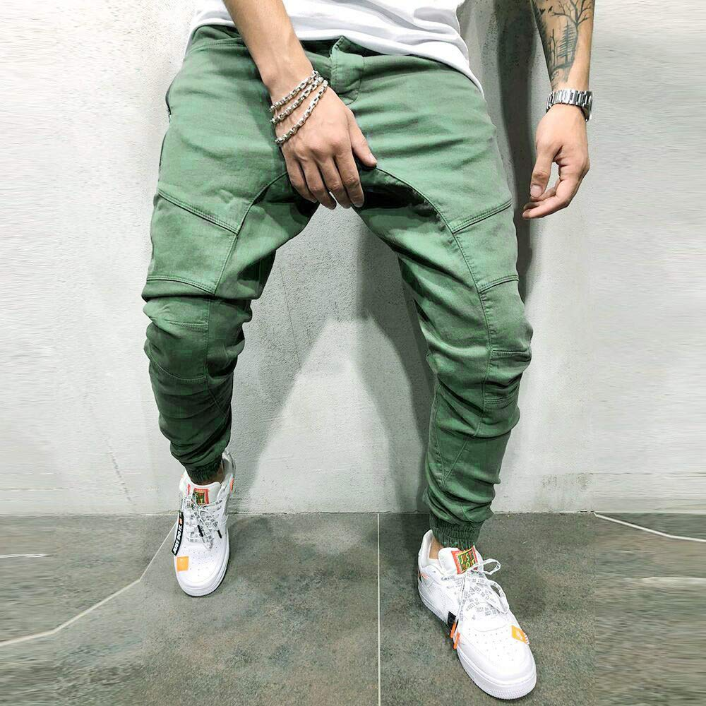 Dowager Mens Fashion Multi-Pocket Workwear Solid Color Drawstring Casual Pencil Pants Trousers