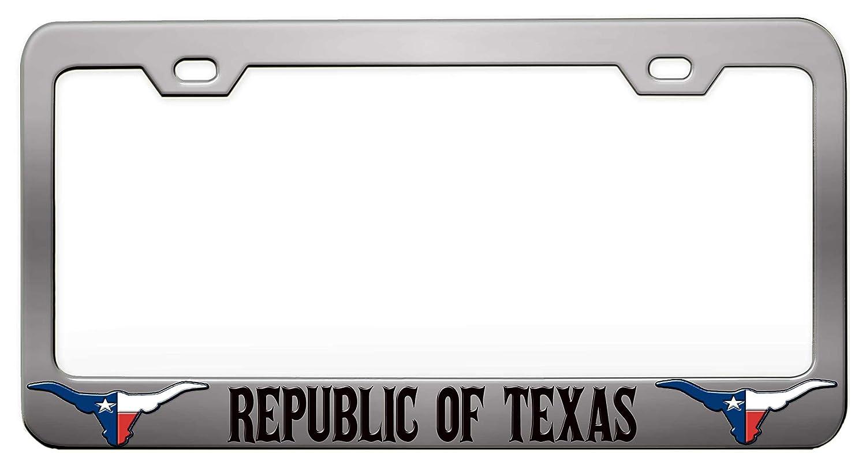 Amazon Com Republic Of Texas Texas Chrome Steel Metal License Plate