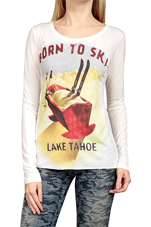 Hotspot Damen Shirt Langarmshirt BORN TO SKI, Farbe: Weiss