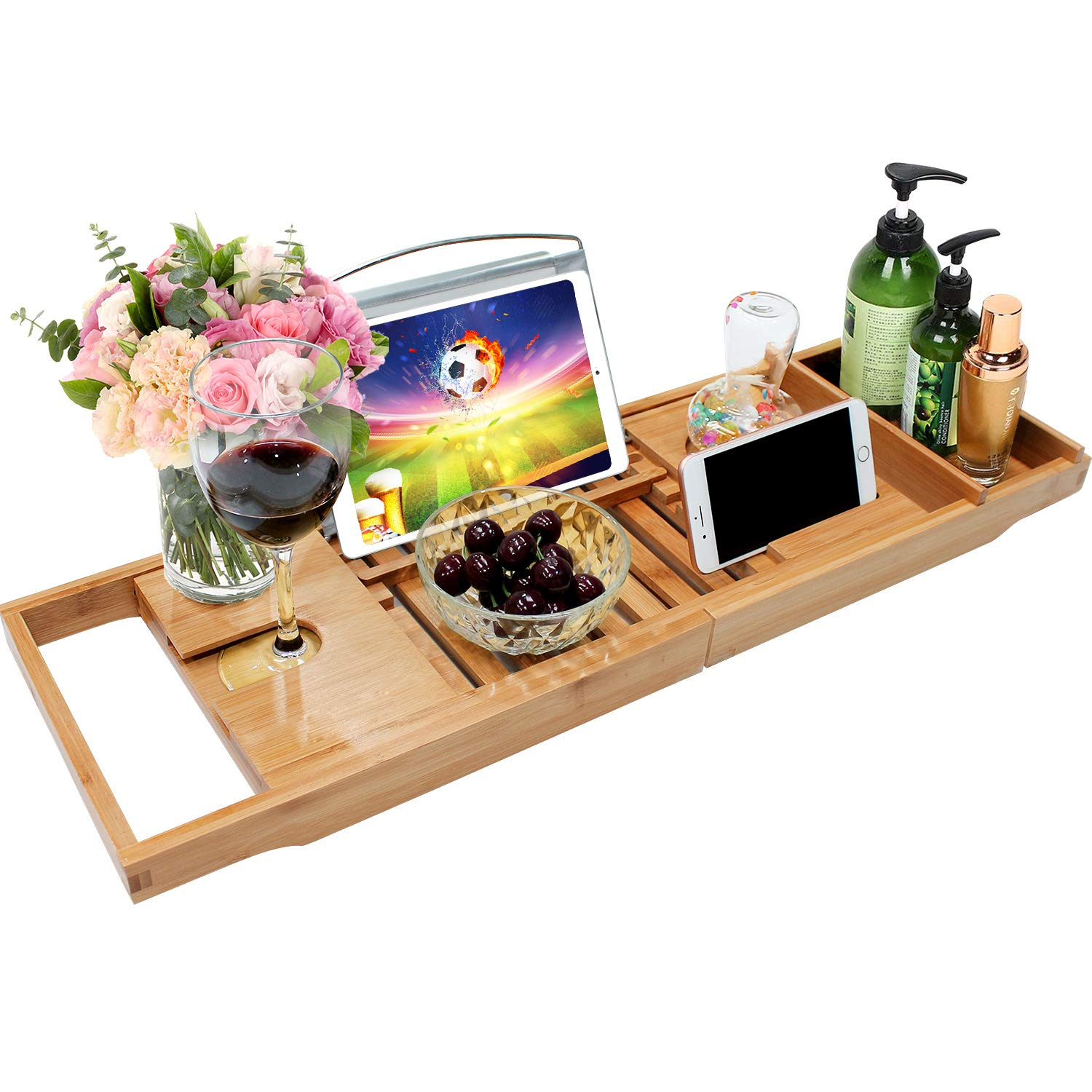 Bamboo Bathtub Caddy Tray Bathroom Organizer with Expandable Sides Holder for Book Glass Towel Good-Love